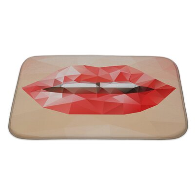 Human Touch Beautiful Woman Triangle Lips, Abstract Bright Geometric Bath Rug Size: Large
