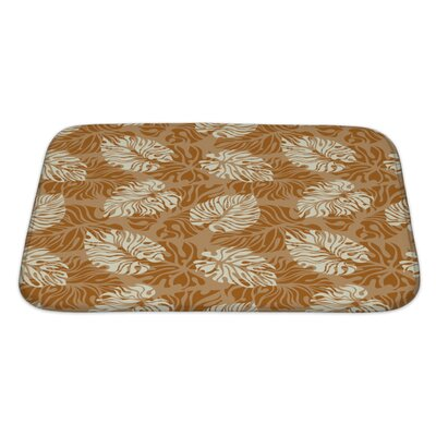 Simple Leaf Pattern Floral Bath Rug Size: Large