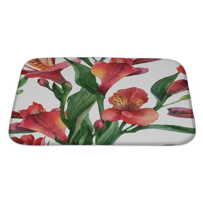 Flowers Floral Pattern Watercolor Alstroemeria Bath Rug Size: Large