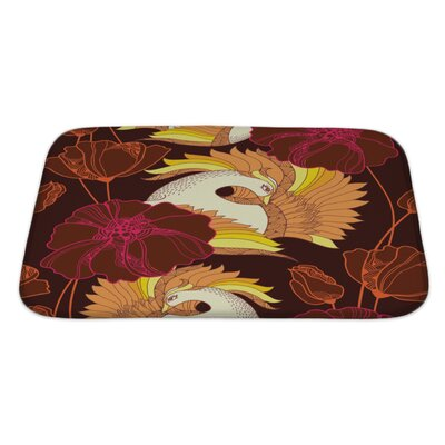 Birds with Mythological Firebird and Ornate Flowers Bath Rug Size: Large