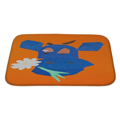 Animals Head of Happy Cow with Flower in Mouth Bath Rug Size: Large