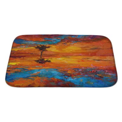 Art Alpha Abstract Lonely Tree in Front of Sunset Bath Rug Size: Large