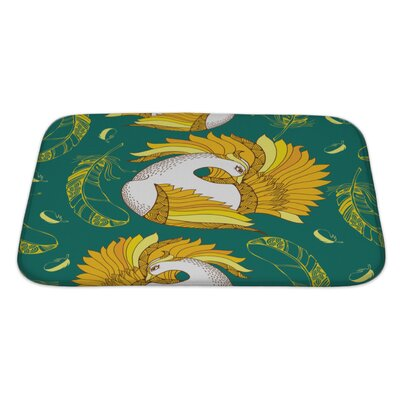 Birds with Mythological Firebird and Feathers Bath Rug Size: Large