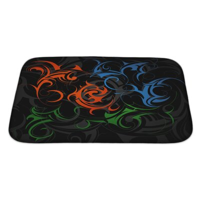 Beta Abstract with Tribal Elements Bath Rug Size: Large
