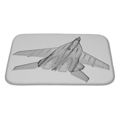 Aircraft Fighter Plane Model, Body Structure, Wire Model Bath Rug Size: Large