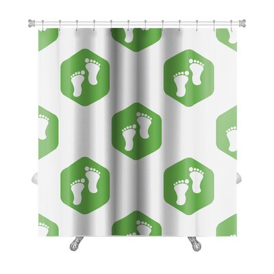 Human Touch Image of Footprint in Hexagon Repeated Premium Shower Curtain
