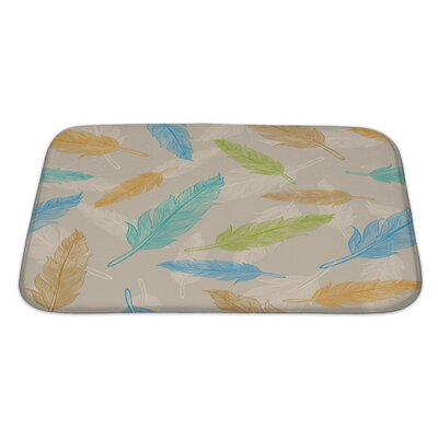 Leaves Color Feather Pattern Bath Rug Size: Large