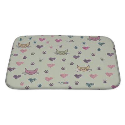 Animals Cartoon Pattern of Cat Footprint Bath Rug Size: Large