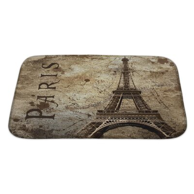 Skyline Vintage View of Paris on the Grunge Bath Rug Size: Large