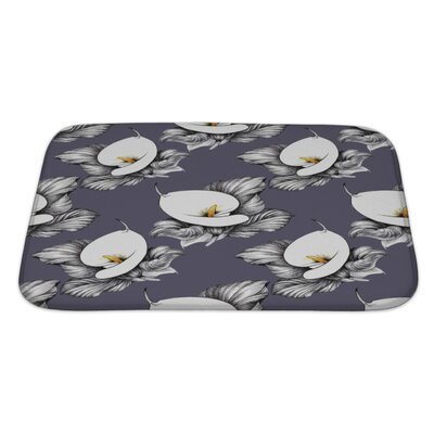 Flowers Calla Lilly Floral Bath Rug Size: Large, Color: Purple