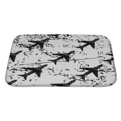 Aircraft Plane Pattern, Grunge Image Bath Rug Size: Large