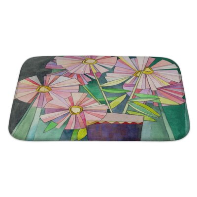 Gecko Stylized Watercolor Floral Bath Rug Size: Large