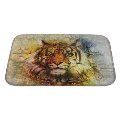 Animals Painting of a Bright Mighty Tiger Head Bath Rug Size: Large
