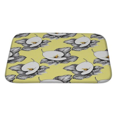 Flowers Calla Lilly Floral Bath Rug Size: Large, Color: Yellow