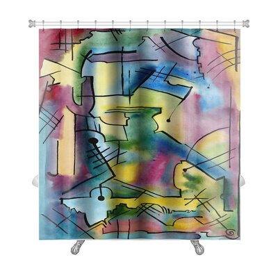 Art Hard Abstract Picture in Modern Style Rising the Mood Premium Shower Curtain