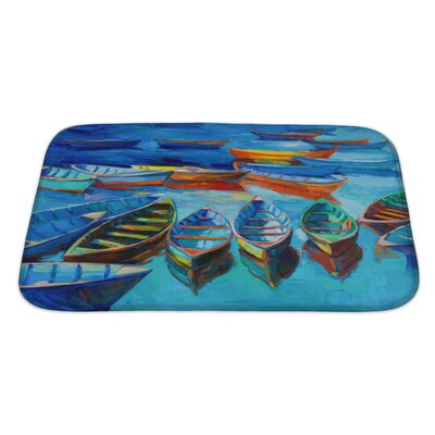 Marine Boats and Sea at Sunset Bath Rug Size: Large