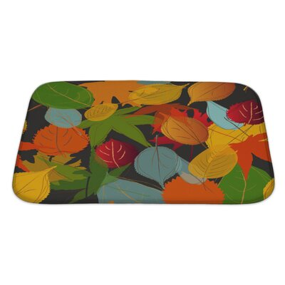 Leaves Leaf Warm Fall Colors of Autumn Bath Rug Size: Large