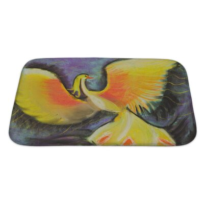 Birds Yellow Fairytale Phoenix Bath Rug Size: Large