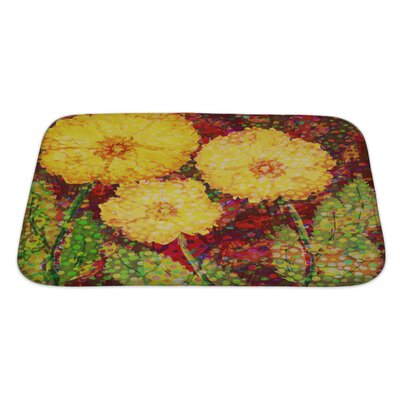 Flowers Acrylic Hand Drawn with 3 Big Flowers Bath Rug Size: Large