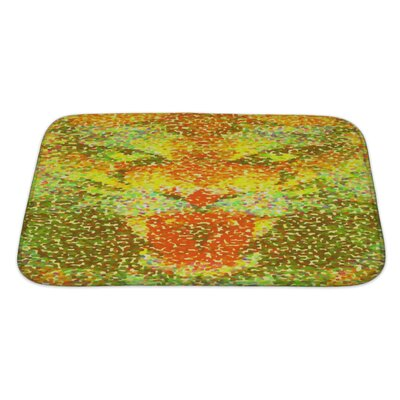 Animals Abstract Tiger Geometric Hipster Poster in Pointillism Style Bath Rug Size: Large, Color: Yellow