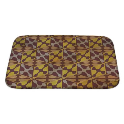 Gamma Vintage Pattern Geometric Bath Rug Size: Large, Color: Burgundy/Yellow