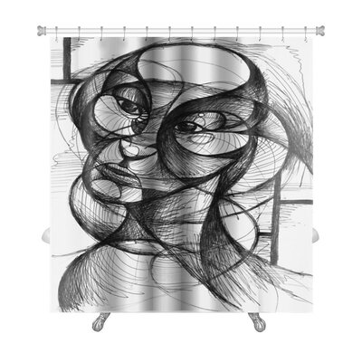 Art Hard Pen and Ink Portrait in Modern Style Premium Shower Curtain