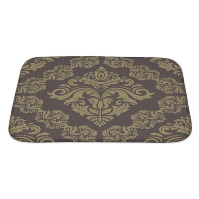 Simple Damask Floral Pattern with Arabesque and Oriental Elements Bath Rug Size: Large