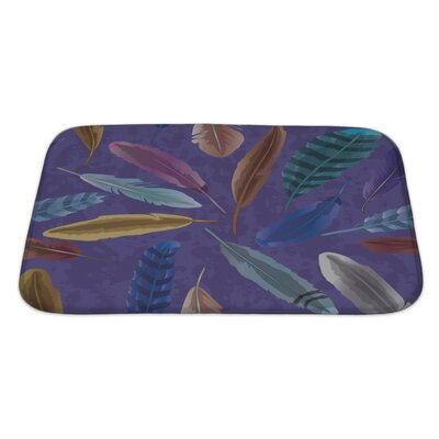 Tribal Feather Bath Rug Size: Large