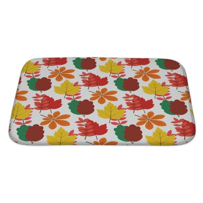 Slide Maple, Chestnut Autumn Leaves Seamles Pattern Bath Rug Size: Large