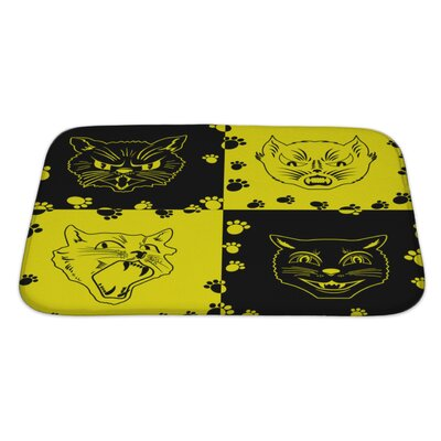 Animals Funny with Cat Faces and Footprints Bath Rug Size: Large