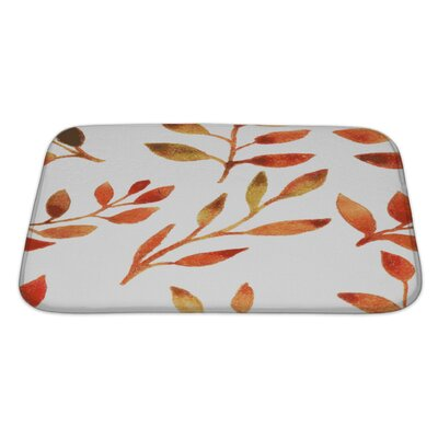 Leaves Autumn Watercolor Leaf Pattern Bath Rug Size: Large