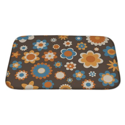 Beta Multicolored Funky Flowers Abstract Pattern Bath Rug Size: Large, Color: Brown