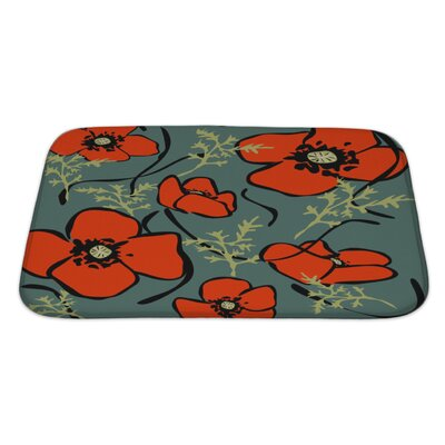 Flowers Poppy Pattern Bath Rug Size: Large