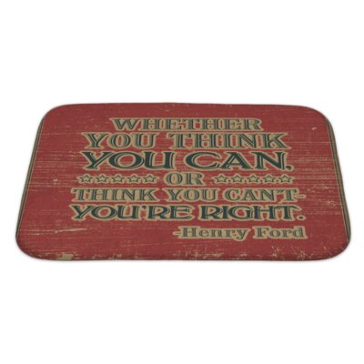 Vintage Retro Henry Ford Quote Bath Rug Size: Large