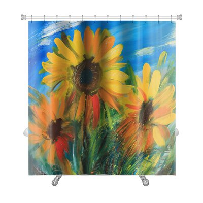 Flowers Sunflowers Drawn by Oil on Canvas Premium Shower Curtain