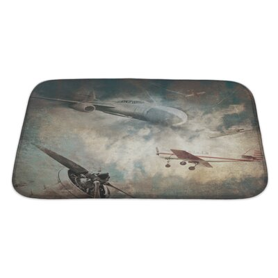 Aircraft Aviation Grunge Bath Rug Size: Large
