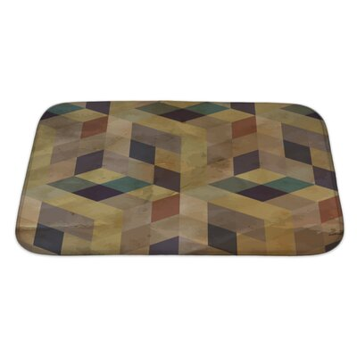 Delta Vintage Geometric Bath Rug Size: Large, Color: Sand/Brown/Green