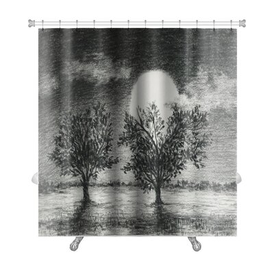 Landscapes Night Scene, 2 Trees are Lit by Moonlight, Charcoal Art Premium Shower Curtain