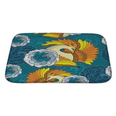 Birds with Mythological Firebird and Chrysanthemums Bath Rug Size: Large