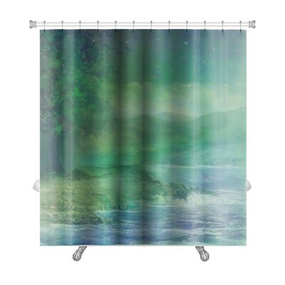 Art Alpha Night Forest in Mountain Premium Shower Curtain