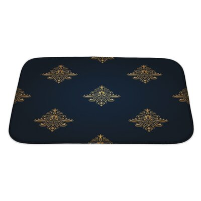 Alpha Gold Classic Pattern with Floral Ornaments Bath Rug Size: Large