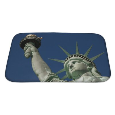 Patriotic Statue of Liberty on Liberty Island in New York City Bath Rug Size: Large
