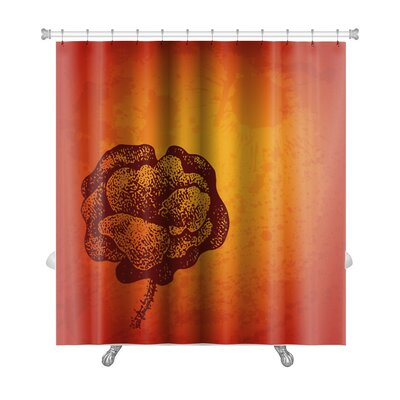 Gecko Artistic Card with Ink Style Poppy Flower Premium Shower Curtain