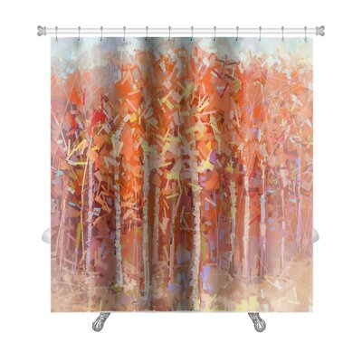 Art Primo Abstract Oil Painting Landscape Colorful Autumn Forest Premium Shower Curtain