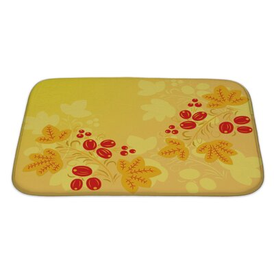 Simple Berries and Leaves in the Khokhloma Style Bath Rug Size: Large
