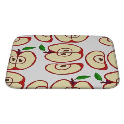 Fruit with Apples and Leaves Isolated on White Bath Rug Size: Large