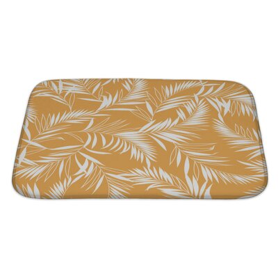 Leaves Tropical Plant Bath Rug Size: Large, Color: Orange/White
