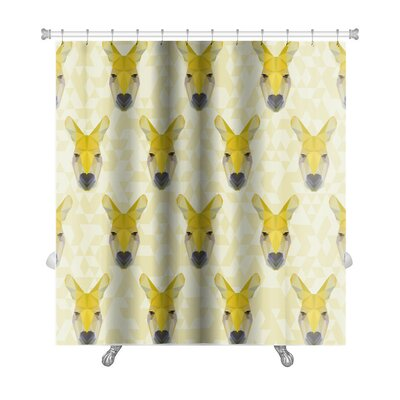 Animals Colored Abstract Polygonal Kangaroo Premium Shower Curtain