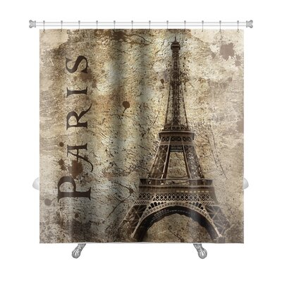 Skyline Vintage View of Paris on the Grunge Premium Shower Curtain