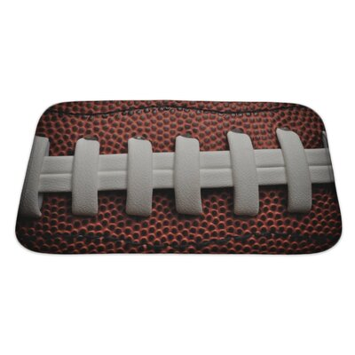 Soccer American Football Close Up with Laces and Bath Rug Size: Large